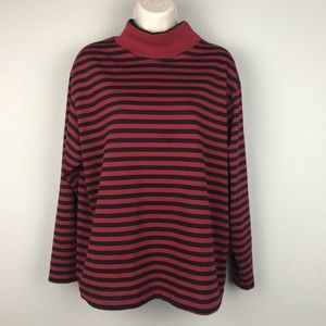 VTG 90s Double Collar Red Black Striped Shirt